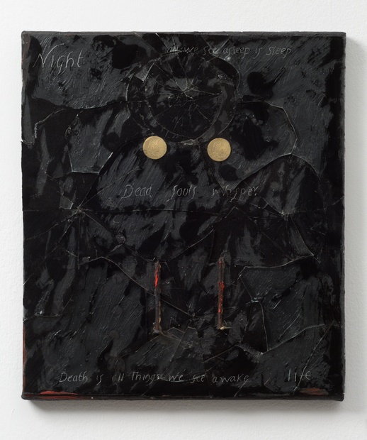 Dead Man's Eyes, 1987 Oil and mixed media on canvas 41.3 x 36.2 cm 16 1/4 x 14 1/4 in